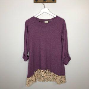 LOGO by Lori Goldstein Purple Lace Detail Blouse